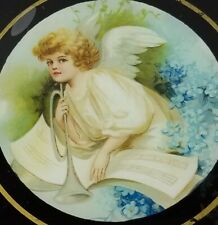 Antique Vintage Child Angel Round Glass Flue Cover