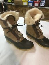 "Womens Signature Wicked Good Shearling LL Bean Boots 10""Natural/Brown Size 7M"