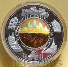 2001 Cambodia 1Oz Silver 1/10 Gold Bimetal Proof Coin Angkor Wat Hologram UNESCO