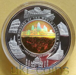2001 Cambodia Wonders of the World Angkor Wat Silver Gold Bimetal Coin Hologram