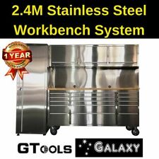 2.4m Stainless Steel Garage Workbench System Tool Chest Rolling Cabinet drawers