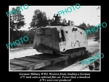OLD 8x6 HISTORIC PHOTO OF GERMAN MILITARY WWI A7V MILITARY TANK WESTERN FRONT
