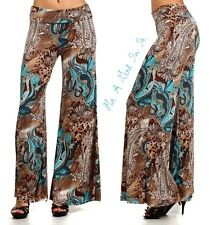CUTE HIGH WAISTED OR FOLDOVER TAUPE TEAL PAISLEY PALAZZO PANTS S M L XL