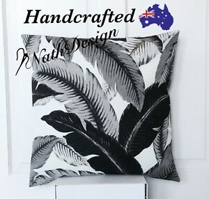 Tommy Bahama Outdoor/Indoor 45cm Black & Grey Tropical Palm Leaf Cushion Cover