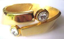 bracelet rigide bijou vintage relief solitaire cristal diamant couleur or 537