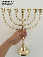 "Amazing Classic Gold Plated Jewish Menorah 7 Branches 10"" /25cm painted candle"