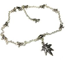 Silver Cannabis Charm Ankle Bracelet Dragonfly Chain Anklet Foot Jewellery Boho