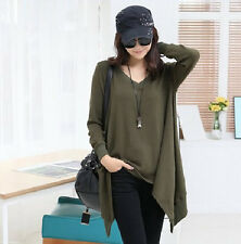 Womens  Korean Loose V-Neck T-Shirt Army Green Casual Blouse Long Sleeve Tops