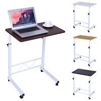 Adjustable Bedside Laptop Computer Table w/ Wheels Mobile Stand Bedside Table