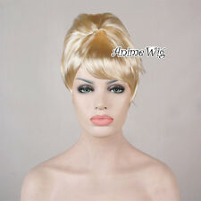 Ladies Beehive Style Blonde Short Wig Fancy Dress Party Costume 50s 60s 70s Hair