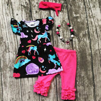 US Boutique Toddler Kids Baby Girl Unicorn Tops Ruffle Pants Outfits Set Clothes