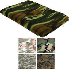 "Polar Fleece Camo Throw Blanket 60"" x 80"" Thick Warm Military Camouflage Camping"