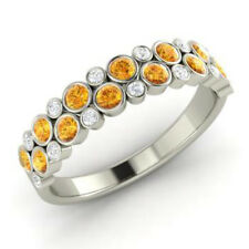 0.91 Ct Natural Diamond Citrine Eternity Band 14K White Gold Ring Size L M N O P