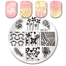 Nail Art Stamping Plate Feather Heart Image Stamp Template Manicure Born Pretty