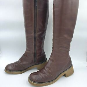 1970s Boots size 6.5 Brown Real Leather Fleece Lined Chunky Heel Talon Zip B4