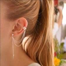 Leaves Ear Clip Earrings for Women Single Leaf Chain Tassel ear cuff Metal Girl