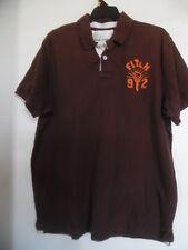 ABERCROMBIE Mens Vintage Classic Polo Shirt Muscle Fit Brown Sz XL