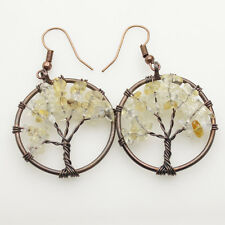 Natural Citrine Chip Beads Tree of Life Copper Round Pendant Hook Earrings