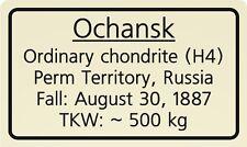 Meteorite label Ochansk