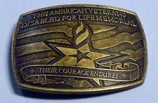 American Veterans Disable For Life Memorial 2007 Sponsor Brass Belt Buckle The