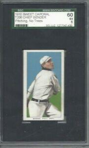 1910 T206 baseball card Chief Bender Philadelphia A's graded SGC 60 5 No Trees