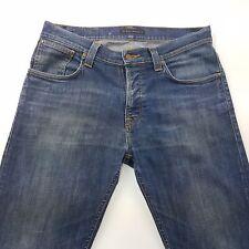 Nudie Average Joe Mens Organic Jeans W34 L33 Dark Blue Regular Fit Straight Mid