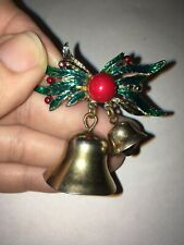 Nice Old Mid Century Christmas Pin Brooch Holly & Berry Bells - Cute