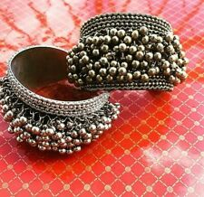 Bollywood Indian Bridal Wedding Style Hands Bangles Set Silver Plated Kada Bells