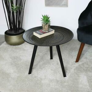 Round Black Side table boho modern wooden gold bedside coffee table decor
