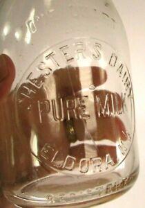 1947 CHESTER'S DAIRY Eldora NJ Quart Milk Bottle TREQ Embossed Rare Excellent