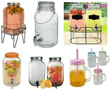 Vintage Barrel Glass Dispenser & Mason Glass Jar Drink Juice Garden Party Home