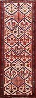 Vintage Geometric Bakhtiari Tribal Runner Rug Hand-knotted Oriental Hallway 4x10