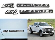 (2) Black & White 6.7 POWERSTROKE Lower Door Emblems For 2012+ F250 F350 New USA