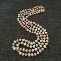 """NEW long 120cm/47"""" 8-8.5mm baroque multicolor freshwater pearl necklace AA"""