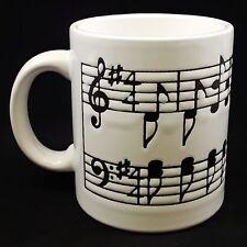Vintage Waechtersbach Spain White Mug Black Music Notes Coffee Musician Treble