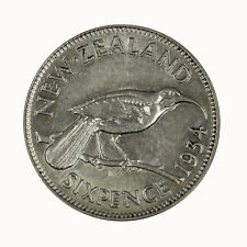 New Zealand 1934 Sixpence Coin gEF