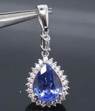SOLID 14Kt WHITE GOLD NATURAL GORGEOUS BLUE TANZANITE DIAMOND WEDDING PENDANT