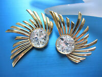 STUNNING ZOE COSTE FRANCE COUTURE 3-D RHINESTONES GOLD PLATE RAYS EARRINGS CC3