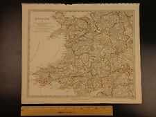 1844 BEAUTIFUL Huge Color MAP of WestCentral England Warwick Great Britain ATLAS