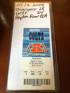 PEYTON MANNING INDIANAPOLIS COLTS 01/13/2008 TICKET STUB FINAL NFL GAME RCA DOME