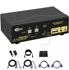 CKLau-922HV 2 Port Dual Monitor KVM Switch HDMI + VGA with Audio, Mike, USB 2.0