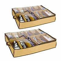 2x Underbed Shoe Store Organiser - 12 Pairs D K1M3