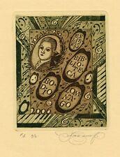 Nina Kazimova, Original Etching, Bodia Lomnago's Ex libris, Mozart Music