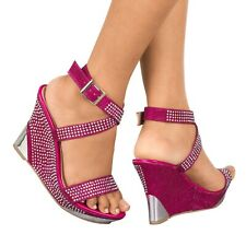 NEW GLITTER DIAMANTE WEDGE HEEL PLATFORM STRAPPY PEEP TOE SANDALS SHOES 3-8