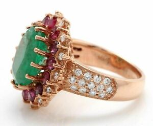Natural Emerald Ruby and moissanite in 14K Rose Gold Women Ring
