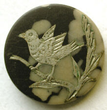 "Antique Composition Button with Silver Bird Inlay Design - 11/16"""
