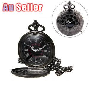 Antique Retro Mechanical Skeleton Steampunk Mens Pocket Watch Open Case Chain