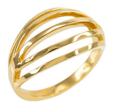 Solid Yellow Gold Openwork Layered Stacking Ring