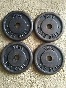 Vintage 5lb York Barbell Standard Weight Plates 4 Cast Iron Barbells