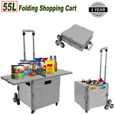 Practical Handcart 55l Foldable Shopping Cart Withladder Wheelsamptelescoping Handle